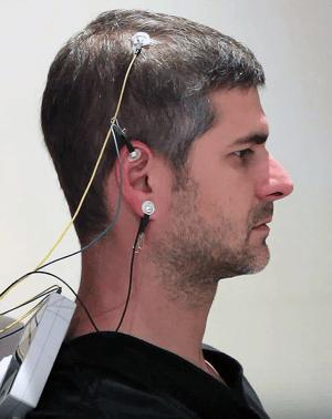 EEG sensors on head