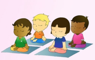 children learning to meditate